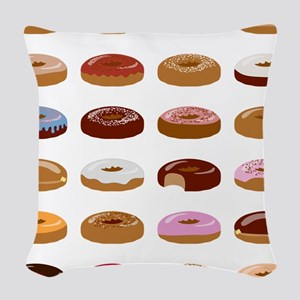 Many Donuts Woven Throw Pillow