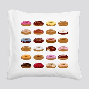Many Donuts Square Canvas Pillow