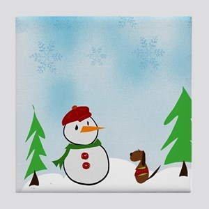 Snowman With His Dog Tile Coaster