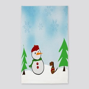 Snowman With His Dog 3'x5' Area Rug