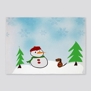Snowman With His Dog 5'x7'Area Rug