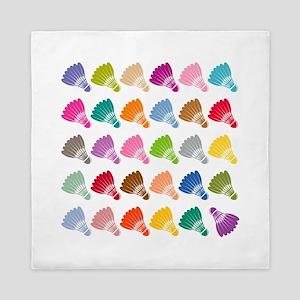Colorful BadmintonShuttles Queen Duvet