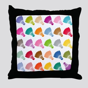 Colorful BadmintonShuttles Throw Pillow