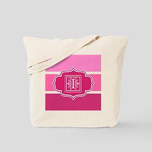 Letter I Pink Wide Stripes Monogram Tote Bag