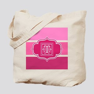 Initial T Pink Wide Stripes Monogrammed Tote Bag