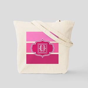 Initial U Pink Wide Stripes Monogrammed Tote Bag