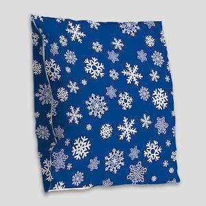 Snowflakes Blue Background Burlap Throw Pillow