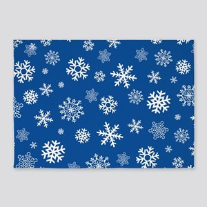 Snowflakes Blue Background 5'x7'Area Rug
