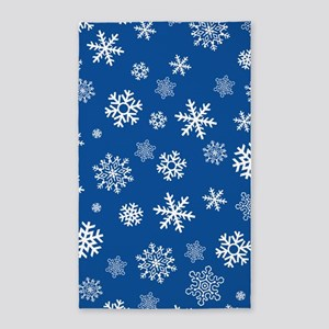 Snowflakes Blue Background Area Rug