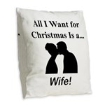 Christmas Wife Burlap Throw Pillow
