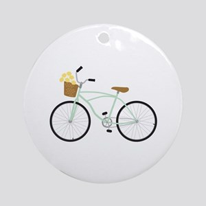 Bicycle Flower Basket Ornament (Round)