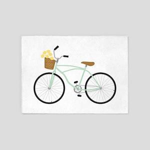 Bicycle Flower Basket 5'x7'Area Rug