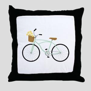 Bicycle Flower Basket Throw Pillow