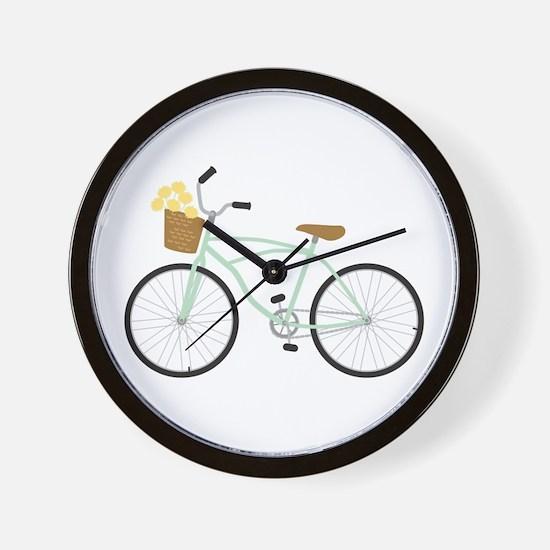 Bicycle Flower Basket Wall Clock