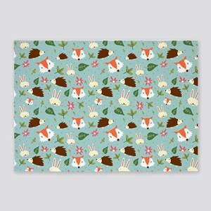 Forest Animals Pattern 5'x7'Area Rug