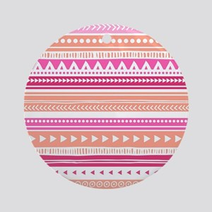 Peach Pink Tribal Geometric Vint Ornament (Round)