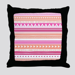 Peach Pink Tribal Geometric Vintage Throw Pillow