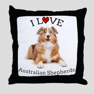 I love Aussies Throw Pillow
