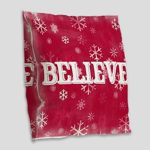 Believe Burlap Throw Pillow