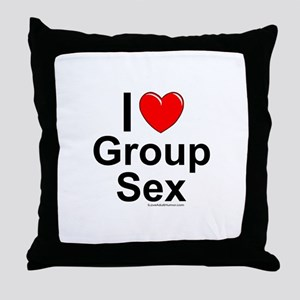 Group Sex Throw Pillow