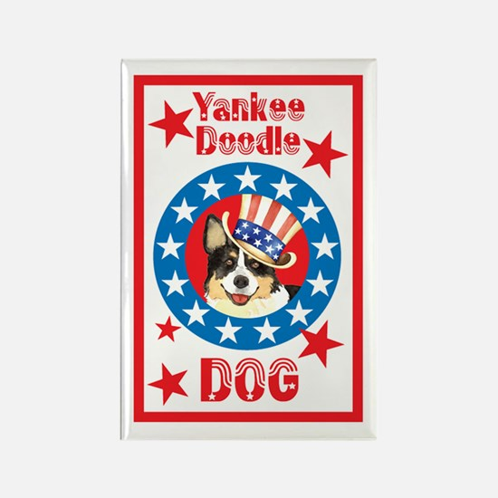 Patriotic Welsh Corgi Rectangle Magnet