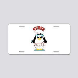 Nurse Penguin Aluminum License Plate