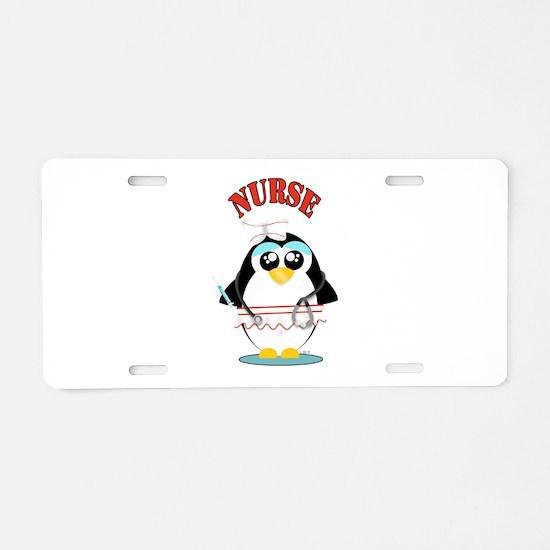 Nurse Penguin Aluminum License Plate