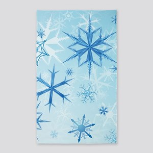 Frozen Snow Crystals 3'x5' Area Rug