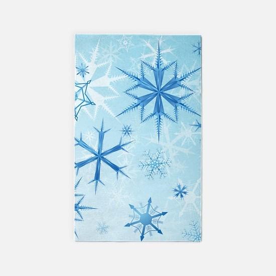 Frozen Snow Crystals 3'x5' Area Rug