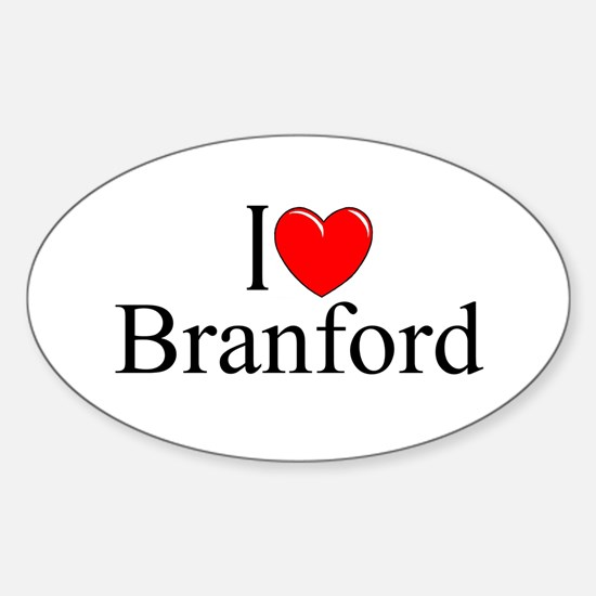 """I Love Branford"" Oval Decal"