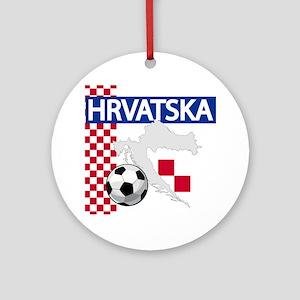 Hrvatska Croatia Futbol Ornament (Round)