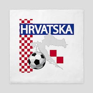 Hrvatska Croatia Futbol Queen Duvet