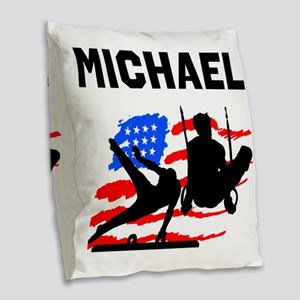 GYMNASTICS CHAMP Burlap Throw Pillow
