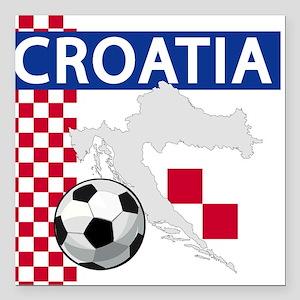 "croatia-futballC.png Square Car Magnet 3"" x 3"""