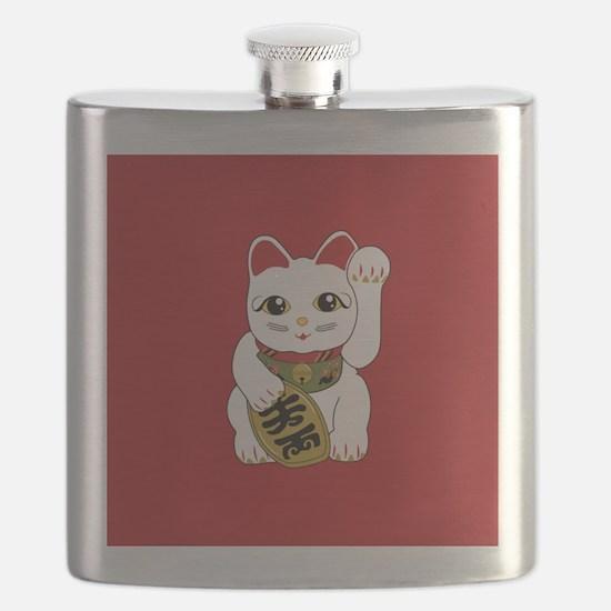 White Maneki Neko Flask