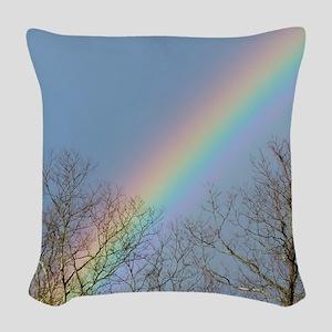 Rainbow Tree Tops Woven Throw Pillow