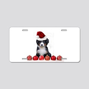 Christmas Bernese Mountain Dog Aluminum License Pl