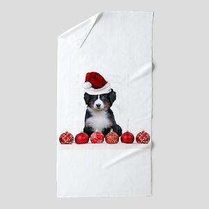 Christmas Bernese Mountain Dog Beach Towel