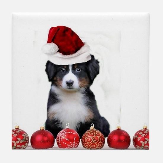 Christmas Bernese Mountain Dog Tile Coaster