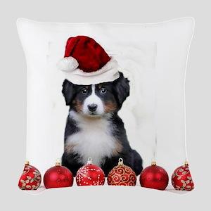 Christmas Bernese Mountain Dog Woven Throw Pillow