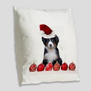 Christmas Bernese Mountain Dog Burlap Throw Pillow