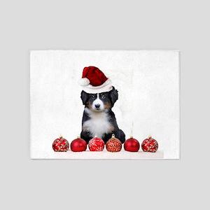Christmas Bernese Mountain Dog 5'x7'Area Rug