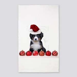 Christmas Bernese Mountain Dog 3'x5' Area Rug