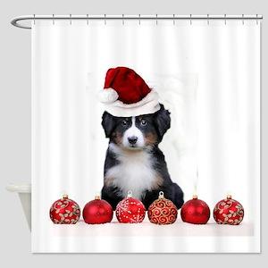 Christmas Bernese Mountain Dog Shower Curtain