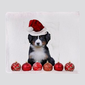 Christmas Bernese Mountain Dog Throw Blanket