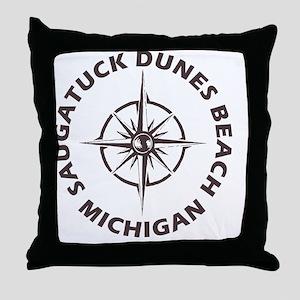 Michigan - Saugatuck Dunes Beach Throw Pillow