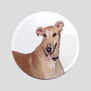 """Greyhound (Portr)-Wreath 3.5"""" Button"""