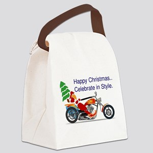 HAPPY CHRISTMAS MOTORCYCLE Canvas Lunch Bag