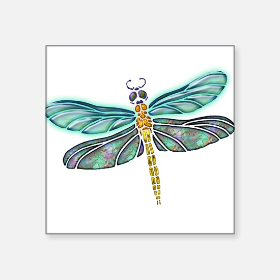 "Cute Dragonfly Square Sticker 3"" x 3"""