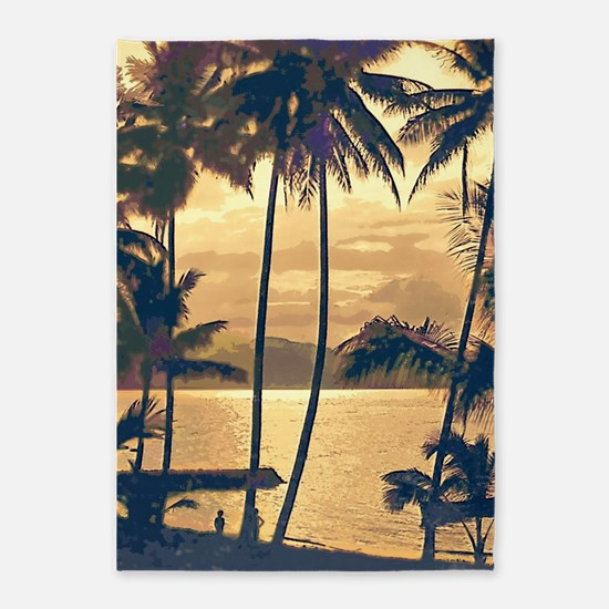 Tropical Silhouettes 5'x7'Area Rug